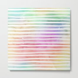 Rainbow Bright Pastel Watercolor Stripes and Lines Metal Print