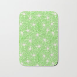 02 White Flowers on Green Bath Mat