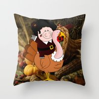 thanksgiving Throw Pillows featuring Thanksgiving turkeys by Afro Pig
