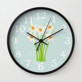 Pastel Mint Blue White Daffodils Hero Watercolor Wall Clock