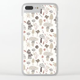 Mushroom Whimsy in Cream Clear iPhone Case