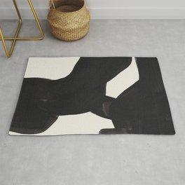 Mid Century Modern Minimalist Abstract Art Brush Strokes Black & White Ink Art Color Field Maze Rug