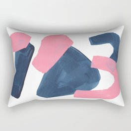 Colorful Minimalist Mid Century Modern Shapes Pink Navy Blue Abstract Shards Rectangular Pillow