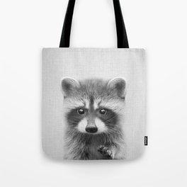 Raccoon - Black & White Tote Bag
