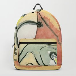 Golden Abstract with black lines Backpack