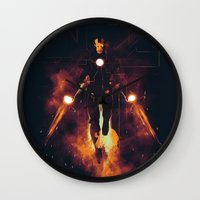 shining Wall Clocks featuring Red shining by Steven Toang
