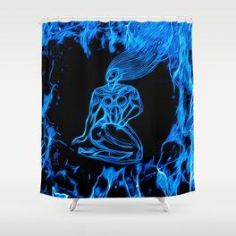 Blue Fire Shower Curtain