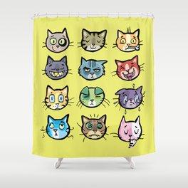 cat faces Shower Curtain