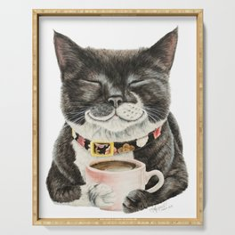 Purrfect Morning , cat with her coffee cup Serving Tray