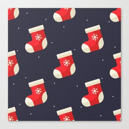 Red Christmas Stocking Pattern Canvas Print
