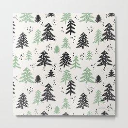 Christmas Tree Pattern – Mint & Black Metal Print