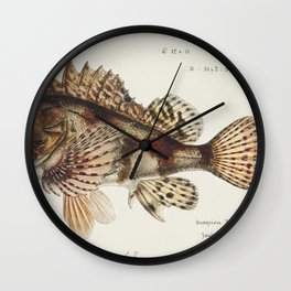 Antique Red Scorpion fish drawn by Fe Clarke (1849-1899) Wall Clock