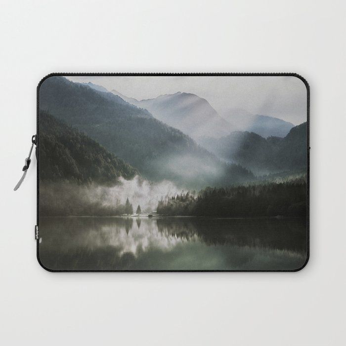 Dreamlike Morning at the Lake - Nature Forest Mountain Photography Laptop Sleeve