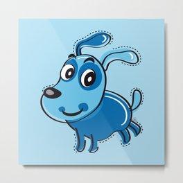 Happy Blue Dog Smilling Metal Print
