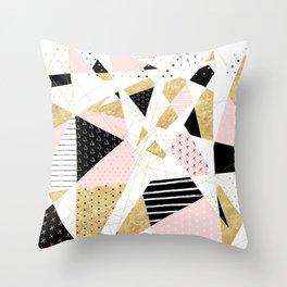 Modern gold geometric abstract design Throw Pillow