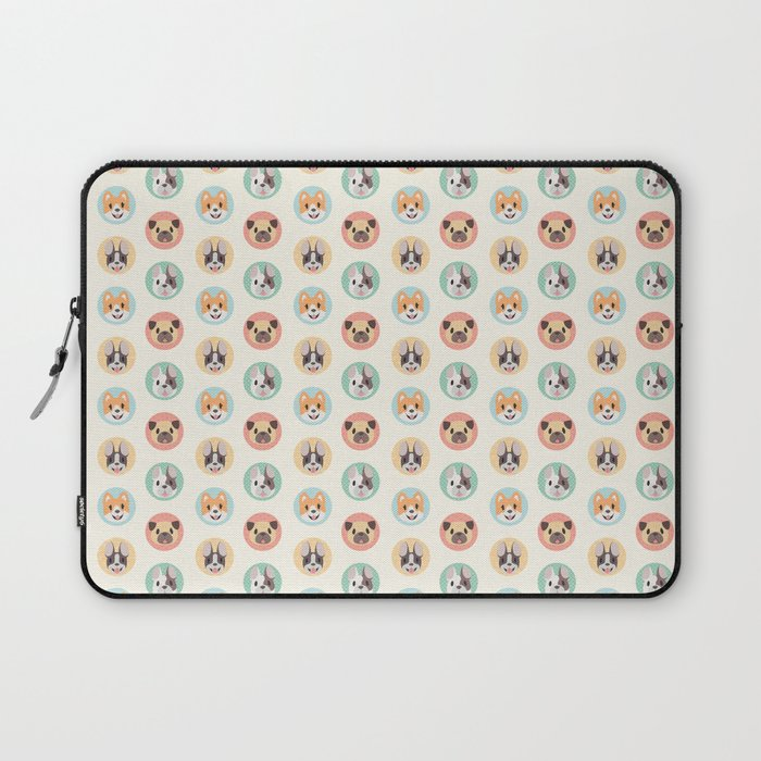 Circle Pup Pattern Laptop Sleeve