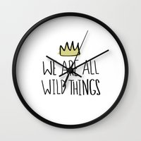 wild things Wall Clocks featuring Wild Things by Leah Flores
