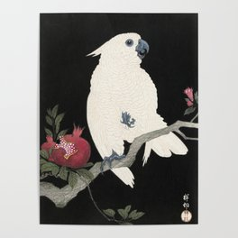Cockatoo and Pomegranate Japanese Woodcut Poster