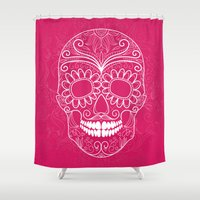 day of the dead Shower Curtains featuring Day of the Dead by Sarah Harris (Lily and Vine Ltd)