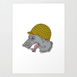 Grey Wolf Head Growling WW2 Helmet Drawing Art Print