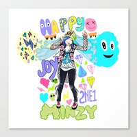 2ne1 Canvas Prints featuring 2NE1 Happy: Minzy by Haneul Home