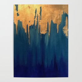 Gold Leaf & Blue Abstract Poster