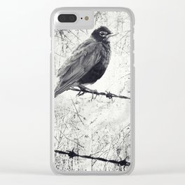 American Robin Bird on Barbed Wire Fence Grunge Clear iPhone Case