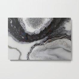 Resin black and silver geode print Metal Print