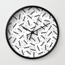 Old School Retro Funky Memphis 80's Pattern Black White Grey Pink Wall Clock