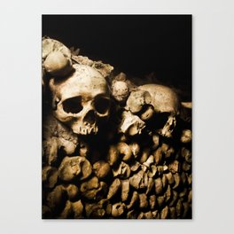 Skull walls in the catacombs Canvas Print