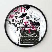 typewriter Wall Clocks featuring typewriter by Natasha79
