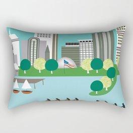 Boston, Massachusetts - Skyline Illustration by Loose Petals Rectangular Pillow