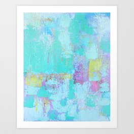 Turquoise, Blue Abstract Work Art Print