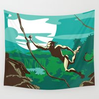 ape Wall Tapestries featuring Ape Man by Tony Vazquez