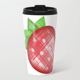 Strawberry Emoji in plaid Travel Mug