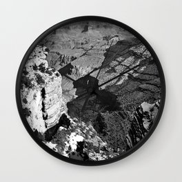 At Grand Canyon national park, USA with snow in black and white Wall Clock