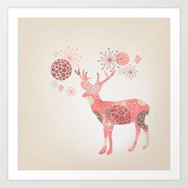 Flower deer Art Print