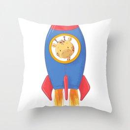 Giraffe in a Space Ship Astronaut Animals Throw Pillow