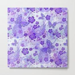 Purple Butterfly Garden Metal Print