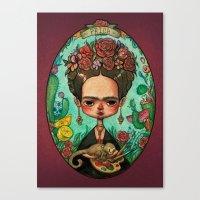 frida kahlo Canvas Prints featuring Frida Kahlo  by Marija Tiurina