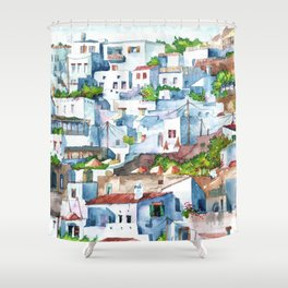 Panorama of Lindos Shower Curtain