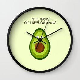 Smug Avocado Wall Clock