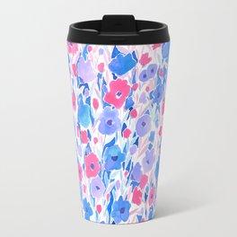 Flower Field Lilac Blue Travel Mug
