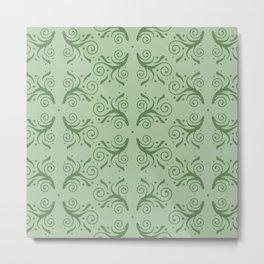 Green on Mint Green Flourish Pattern Metal Print