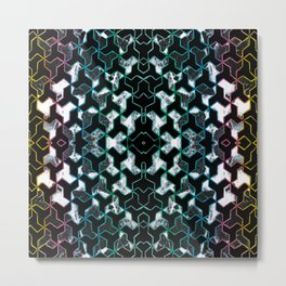 Crayon geometric and marble collage Metal Print