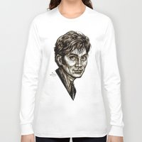 david tennant Long Sleeve T-shirts featuring David Tennant - Doctor Who - Allons-y (Drawing) by ieIndigoEast
