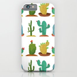 Green Yellow and Blue Cacti with Flowers iPhone Case