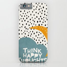 Mid century illustration cloud and quote iPhone Case