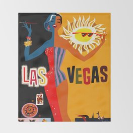 Vintage Las Vegas Travel Poster Throw Blanket