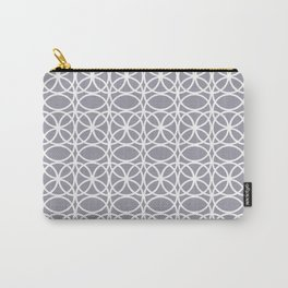 Pantone Lilac Gray and White Rings Circle Heaven 2, Overlapping Ring Design - Digital Artwork Carry-All Pouch